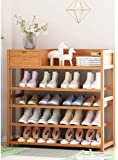 Shoe rack, 5-tier wooden shoe cabinet hallway, shoe stand storage shelf, with drawer, simple assembly