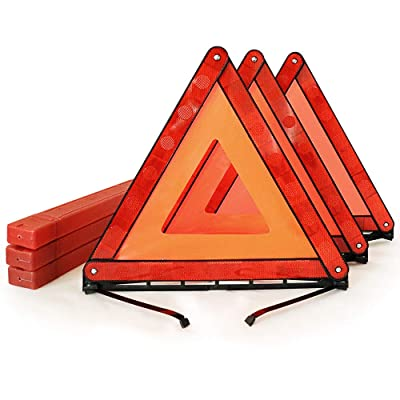 Funlove Foldable Warning Triangles Road Safety Triangle Kit, 3 Pack of Reflective Triangle Sign with Storage Case, DOT Approved: Automotive