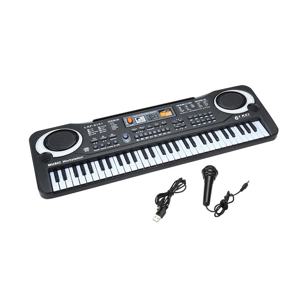Domybest 61 Keys Music Electronic Keyboard Kid Electric Piano Organ W/Mic & Adapter 1ys2fp3sd2vv0py1