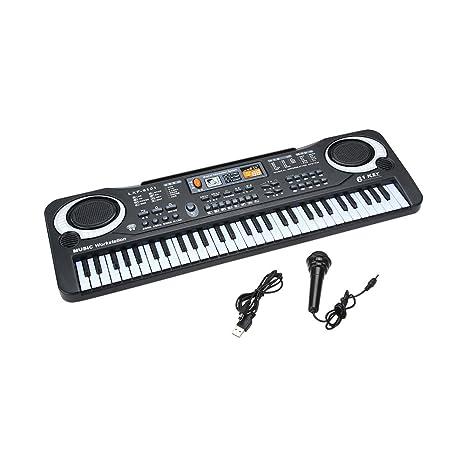 domybest 61 teclas Piano Teclado electrónico portátil para niños con micrófono y cable de alimentación