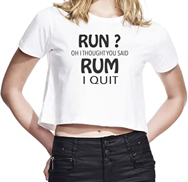 e292b34d9c9c Run Oh I Thought You Said Rum Funny Slogan WomenÕs Cropped T-Shirt| Custom  -Printed Tee| 100% Ultra Soft Cotton| Premium Quality DTG Printing| Unique  ...