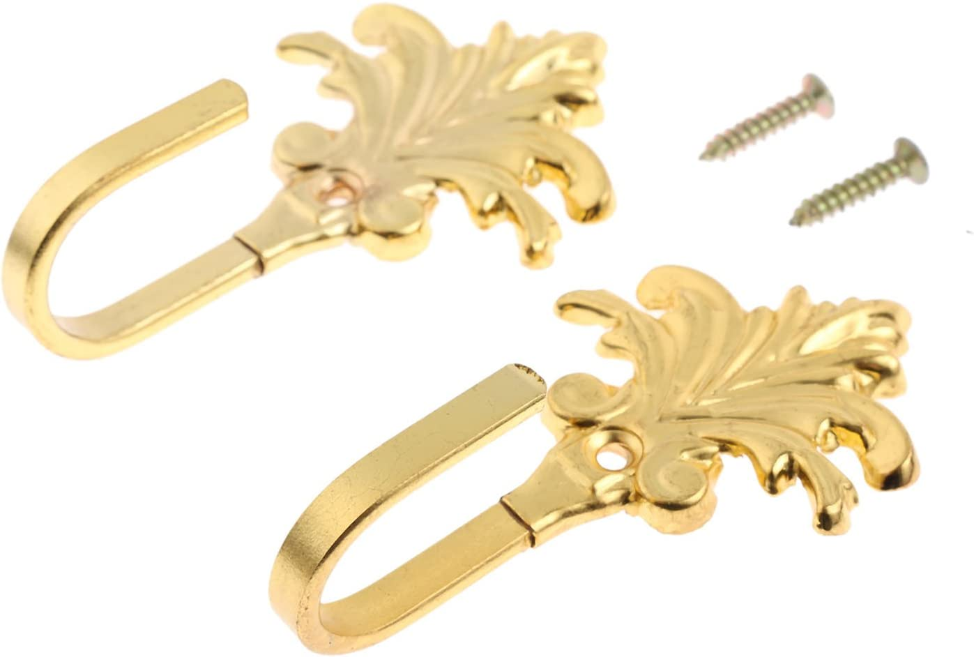 Hicello 2Pcs Wall Hooks Gold Vintage Maple Leaves Drapery Door Wall Towel Cloth Coat Key Hook Multi-Function Decorative Hook with Screws