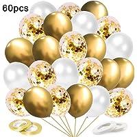 O-Kinee Globos de Confeti Dorados, 60 Piezas Globos