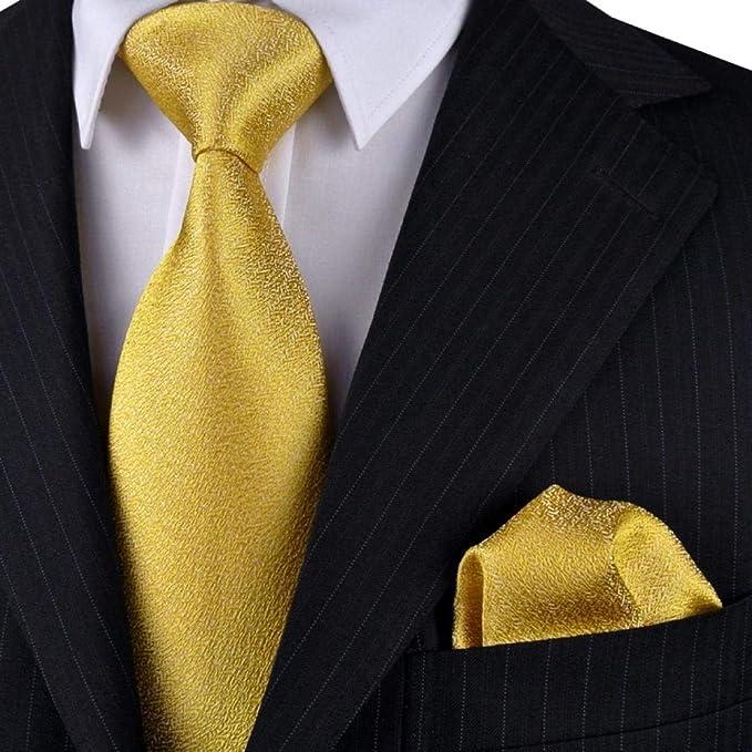 fjchyy Business Tie Golden Golden Tie Patrón de hombre Seda Caja ...