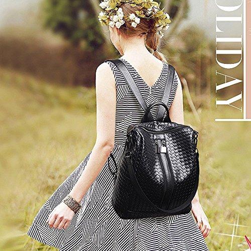 Leather Unisex Men For Shoulder Backpack Faux M014 pattern Fashion Women and Bag Classic Weave Blue Black rfqw1ft