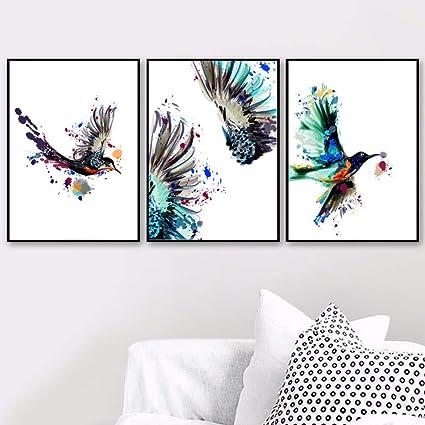 Qiumeixia1 Watercolor Hummingbird Bird Wall Art Canvas Painting Nordic Posters And Prints Pop Art Wall Pictures For Living Room Home Decor 5070cm No