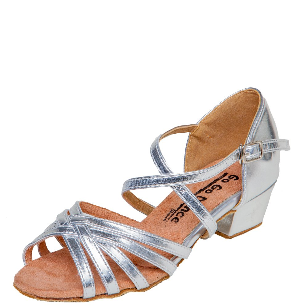 Gogo Dance Shoes GO3061G Girls Ballroom Shoes Silver Leather 1.5 Heel