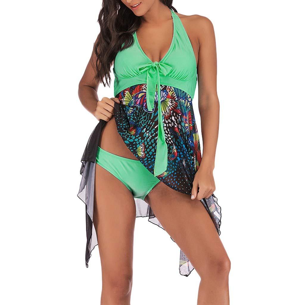 WUSIKY Tankini Set Damen & Mädchen Bikini Set Blumendruck Badebekleidung Zweiteiliger Badeanzug Asymmetrisches Badeanzug Badeanzug Beachwear Bade 2019 New Womens Bikini