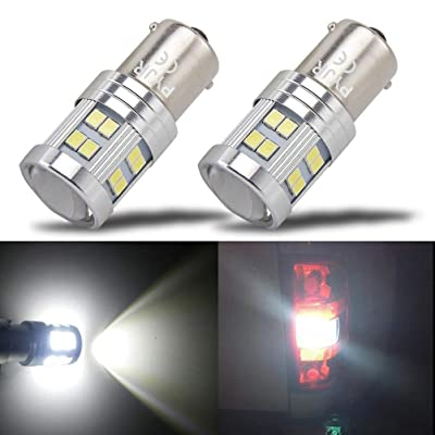 1156 Reverse Light LED Bulbs, PYJR P21w 1141 Ba15s 7506 LED Light Bulbs, 1000 Lumens 6000K Xenon White, with Projector, for Backup, Reverse Light, lawn mower headlights, lawn tractor Bulb.(pack of 2): Automotive