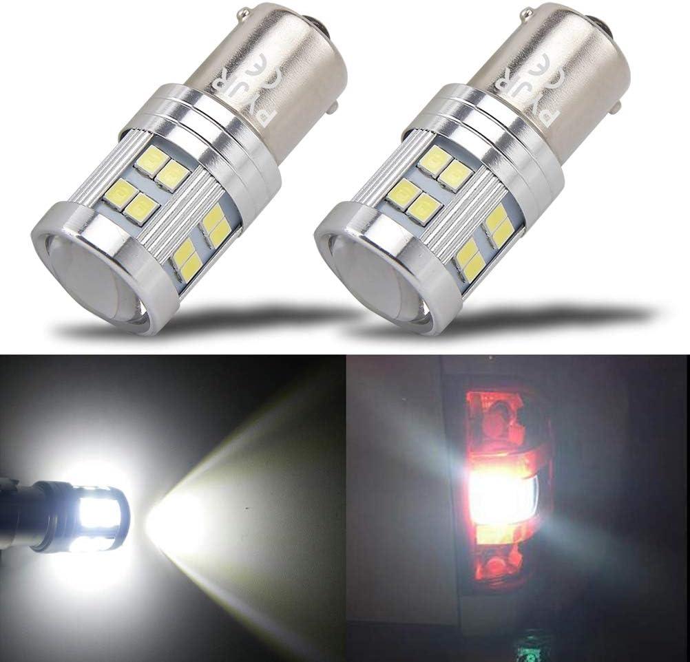 BA15S led 12v luz diurna P21W led luz de marcha atrás, PYJR 6W DC10-30V Voltaje ancho Luz blanca 6000K, 2 unidades