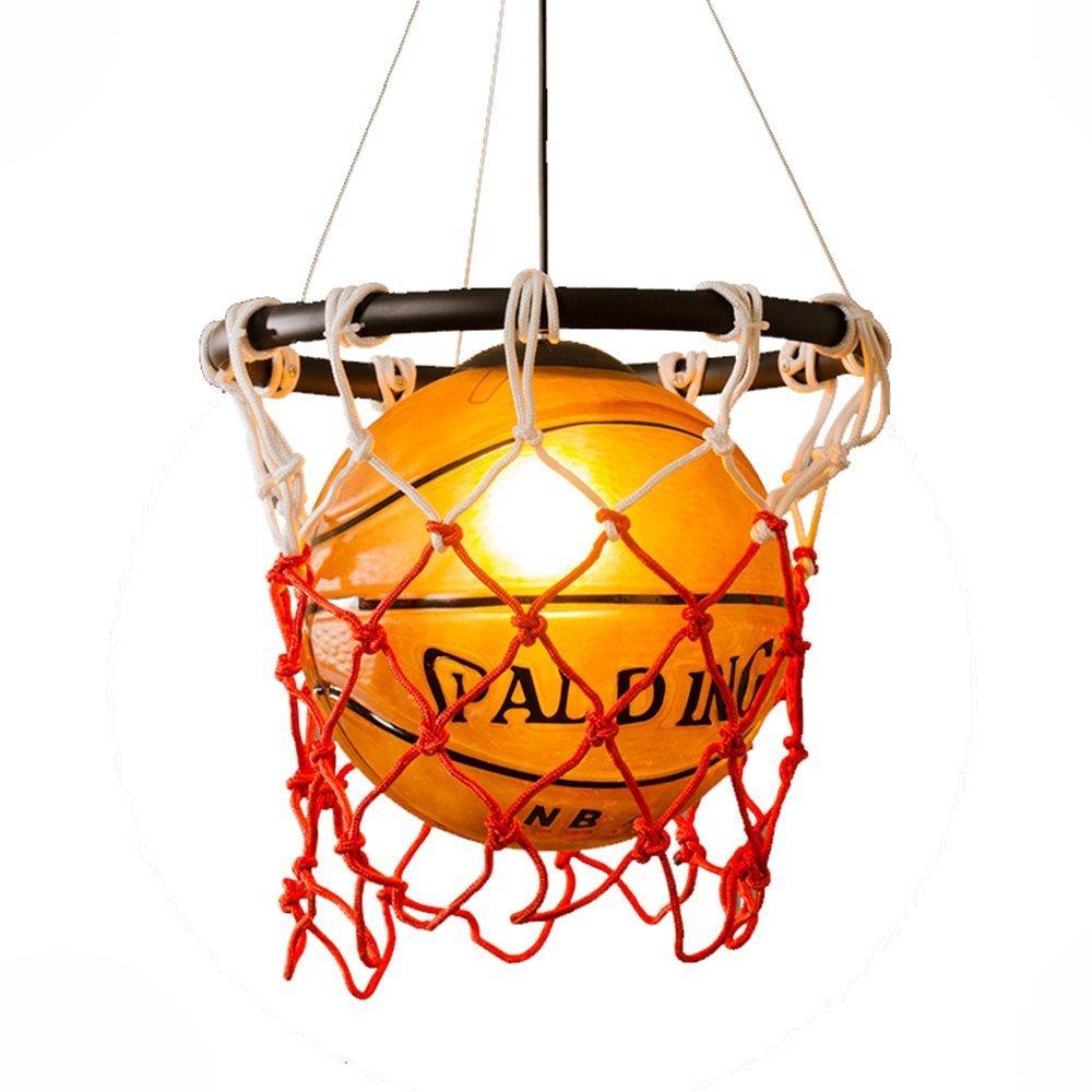 Kreative Acryl Basketball Und Nets Pendelleuchte Home Loft Deco-Decken-Lampe Mit E27 Birne Retro Vintage Hängeleuchte Anhänger Hängelampe Innen Decke Beleuchtung Leuchte Wohnzimmer Esszimmer Bar