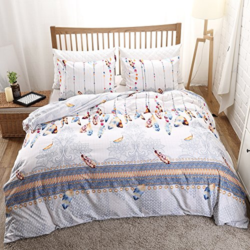 Feather Bedding Boho Feather Duvet Cover Set Chic Feather Printed Design White Grey Bohemian Bedding Set Queen (90