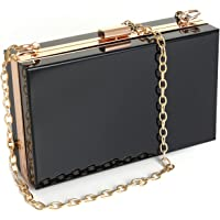 WJCD Women Clear Purse Acrylic Clear Clutch Bag, Shoulder Handbag With Removable Gold Chain Strap