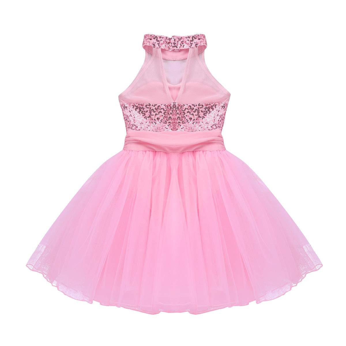 ACSUSS Girls Sequin Camisole Ballet Leotard Lyrical Latin Jazz Modern Dance Dress Crop Top with High Low Dress Dancewear