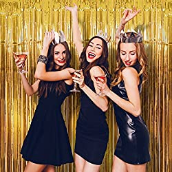 Foil Fringe Curtain (SET OF 2) GOLD Metallic Photo Booth Tinsel Backdrop Door Curtains - Perfect For Christmas & New Years Eve Party Decorations. Fun for Birthday, Bachelorette Parties, Weddings