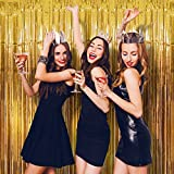 #6: Foil Fringe Curtain (SET OF 2) GOLD Metallic Photo Booth Tinsel Backdrop Door Curtains - Perfect For Christmas & New Years Eve Party Decorations. Fun for Birthday, Bachelorette Parties, Weddings