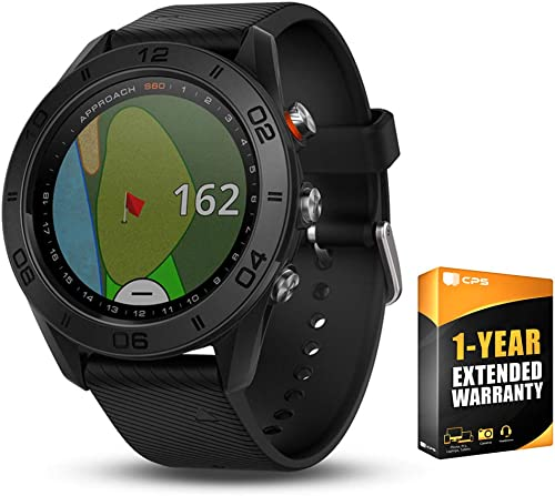 Garmin Approach S60 Golf Watch Black with Black Band 010-01702-00 with 1 Year Extended Warranty