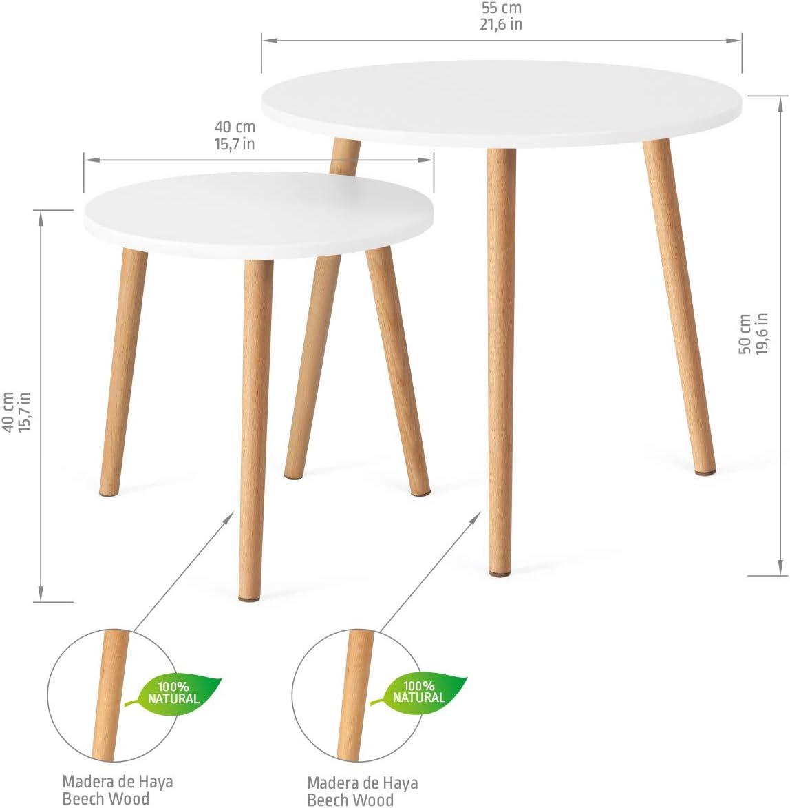 Molto Resistenti COMIFORT Coppia di Tavolini Moderno e Minimalista Tavolini Impilabili in Stile Nordico Set di 2 Tavolini Rotondi Colore Bianco e Faggio 100/% Naturale
