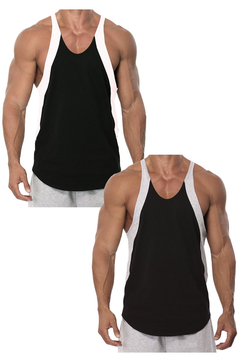 Mens Sport Stringer Tank Top by Pitbull In Your Choice Of Color (Medium, 2 Pack Black/White and Black/Grey)