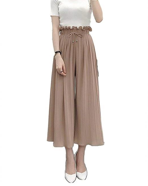 Femme Eté Elégante Mode Pantalon Large Uni Manche Multicouche Taille  Élastique Bandage Taille Haute Bouffant Basic 01ce7c11a1f2