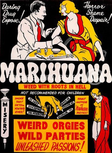 Marihuana Weed With Roots in Hell Vintage Movie Poster 24X36 inches