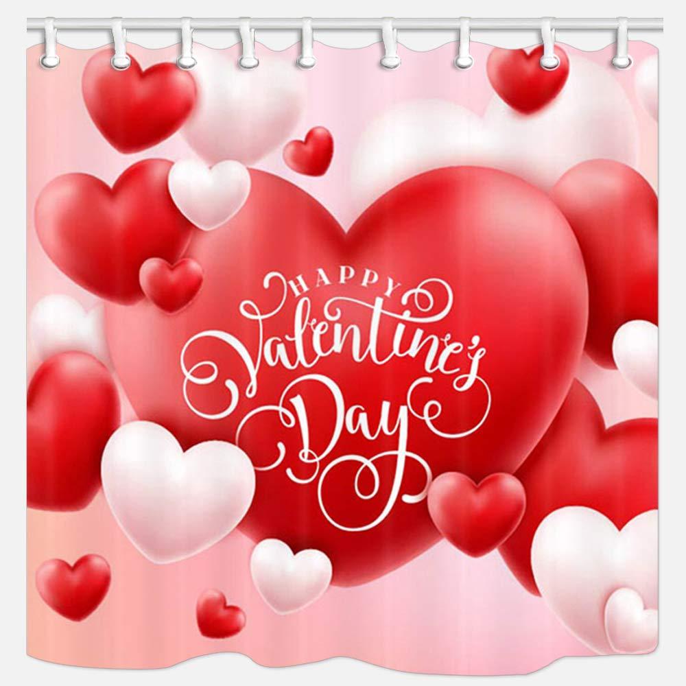 KOTOM バレンタインシャワーカーテン ロマンチックなハート型バルーン ポリエステル生地 バスカーテン フック付き 幅69x長さ70インチ B07KG6VQ6T