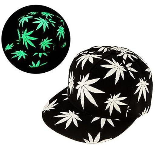 baf4a35aab0 Image Unavailable. Image not available for. Color  Glow In Dark Marijuana  Leaf Baseball Caps Cannabis Weed Hats Hemp Snapback Adjustable
