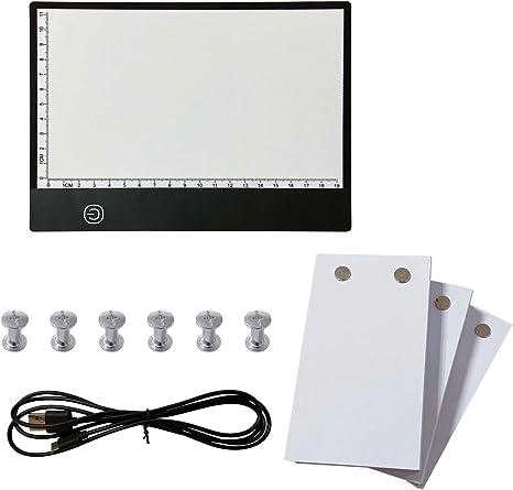 Flip Book Kit avec lumi/ère LED Pad Lightbox Design Tablet avec Trou 300 Feuilles de Papier Flipbook Reliure Vis for Le Dessin pour Cadeau Enfant
