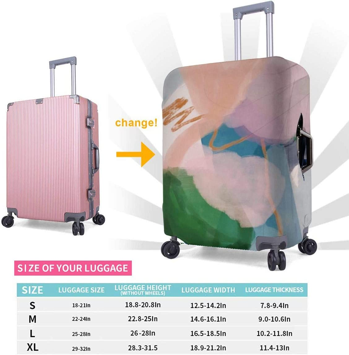 Abstract Color Combination Personalized Travel Luggage Protector Washable Suitcase Cover