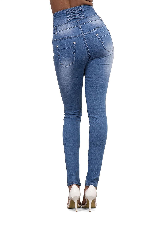 Damen Röhrenjeans Jeans Hose Schlaghose Jeanshose Hochbund Leggin Skinny Jegging