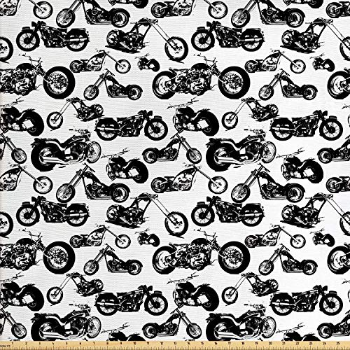 (Ambesonne Motorcycle Fabric by The Yard, Retro Chopper Pattern Monochrome Motorbike Design Adventure Cruising Theme, Decorative Fabric for Upholstery and Home Accents, 1 Yard, Black)