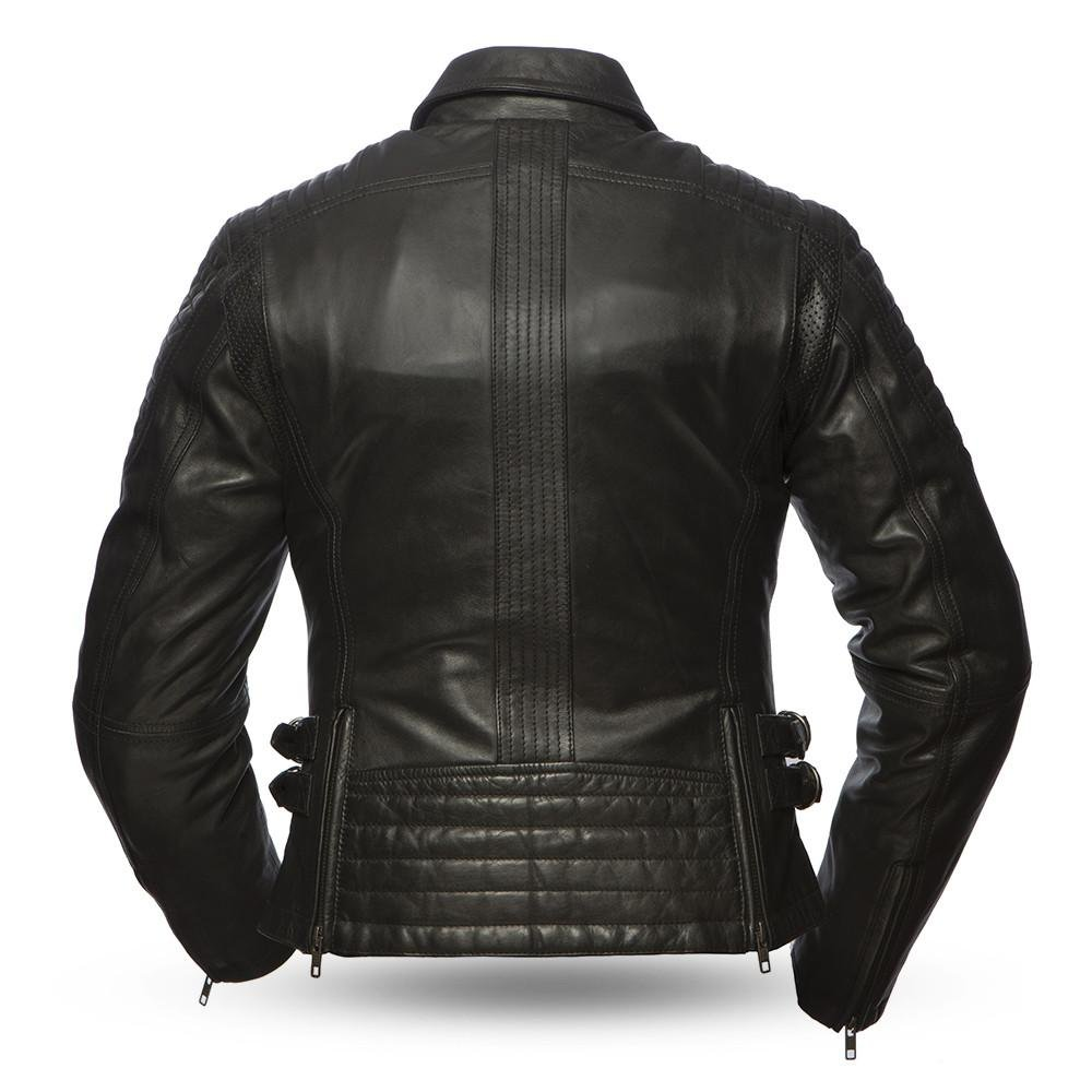 First Mfg Co Womens Speedy Leather Motorcycle Jacket Black X-Small