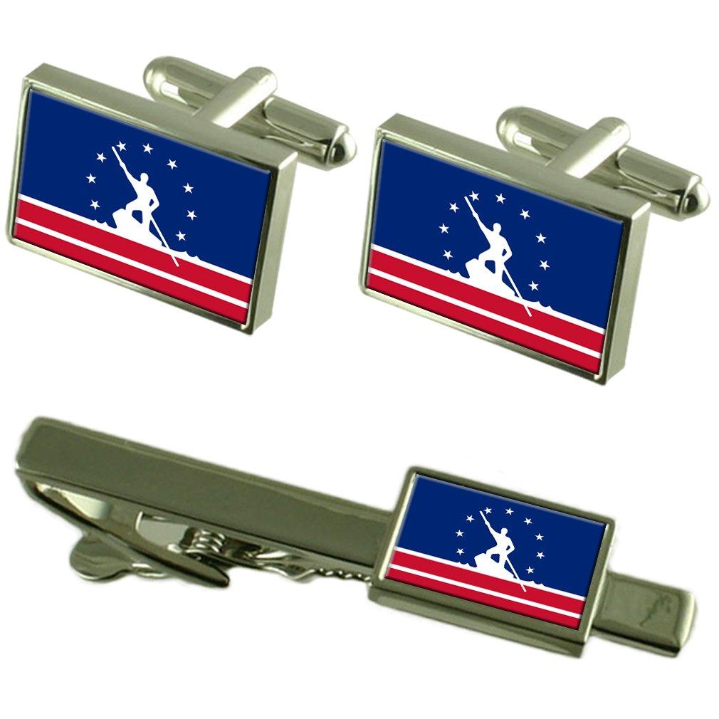 リッチモンド市アメリカ合衆国の旗カフスボタンタイクリップボックスギフトセット   B06ZY6L4LH