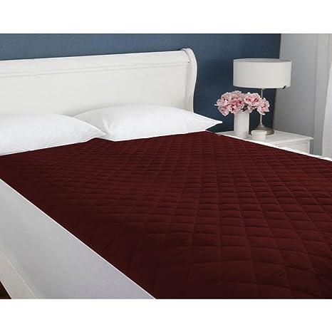 DHAWARIYAS Microfiber Waterproof Single Bed Mattress Protector, 36x 72 Inches(Maroon)