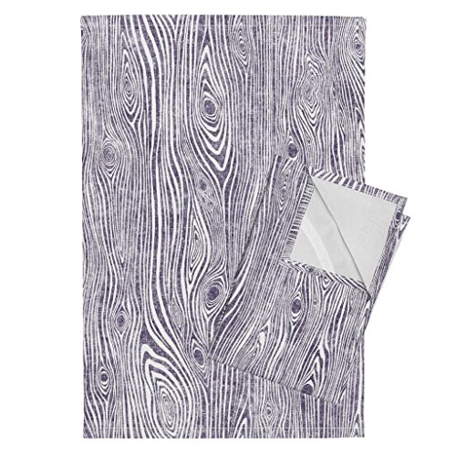 Woodgrain Wood Grain Wood Texture Driftwood Wood Purple Tea Towels Woodgrain Dark Purple - by Rebecca Reck Art Set of 2 Linen Cotton Tea Towels by Roostery (Image #1)