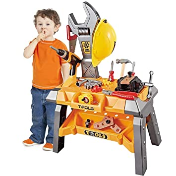 Young Chois 110 Pieces Kids Construction Toy Workbench for Toddlers Kids Power Workbench Construction Tool Bench Set with Toy Tool Drill and Helmet Boys Toy Work Shop Tools Workbench for Toddlers