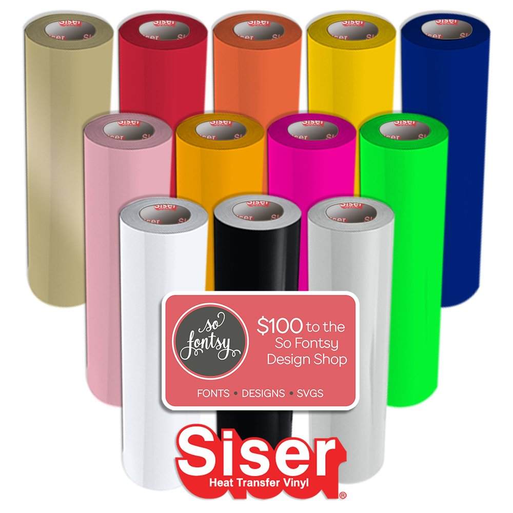12 Pack of Siser Easyweed Heat Transfer (T-Shirt Vinyl) 15 Inches by 3 Feet Rolls - 12 Rolls Plus Design Card