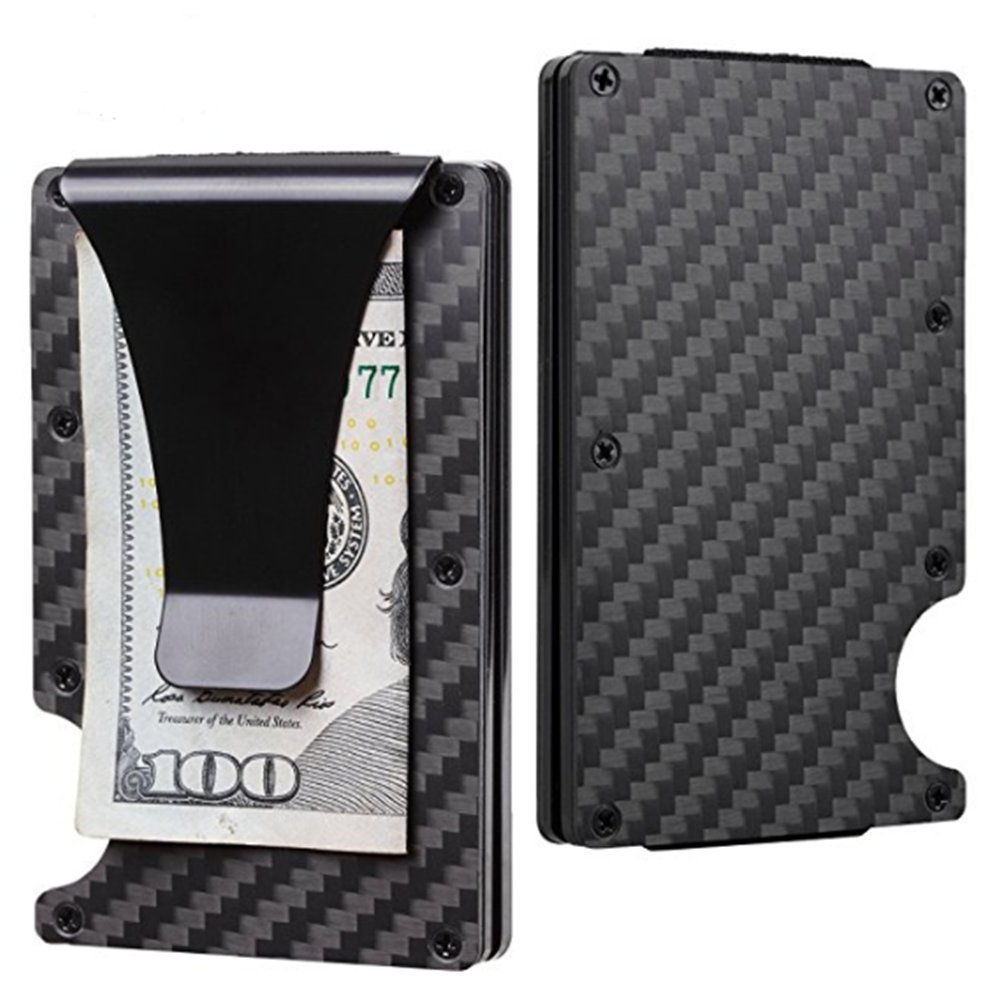 Carbon Fiber Slim Wallet RFID Blocking Metal Front Pocket Wallet