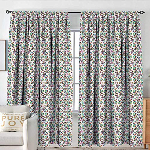 Blackout Curtains for Bedroom Diamonds,Crystal Pattern with Rainbow Color Palette Oval Triangular Hexagonal Geometric,Multicolor,Darkening and Thermal Insulating Draperies 54