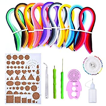 Anndason 23 in 1 Paper Quilling Set & 36 Colors 900 Strips (Gradient color) + 36 Colors 720 Strips (Mix and bright) and 10 tools Quilling DIY & Paper Width 3mm 4336889605