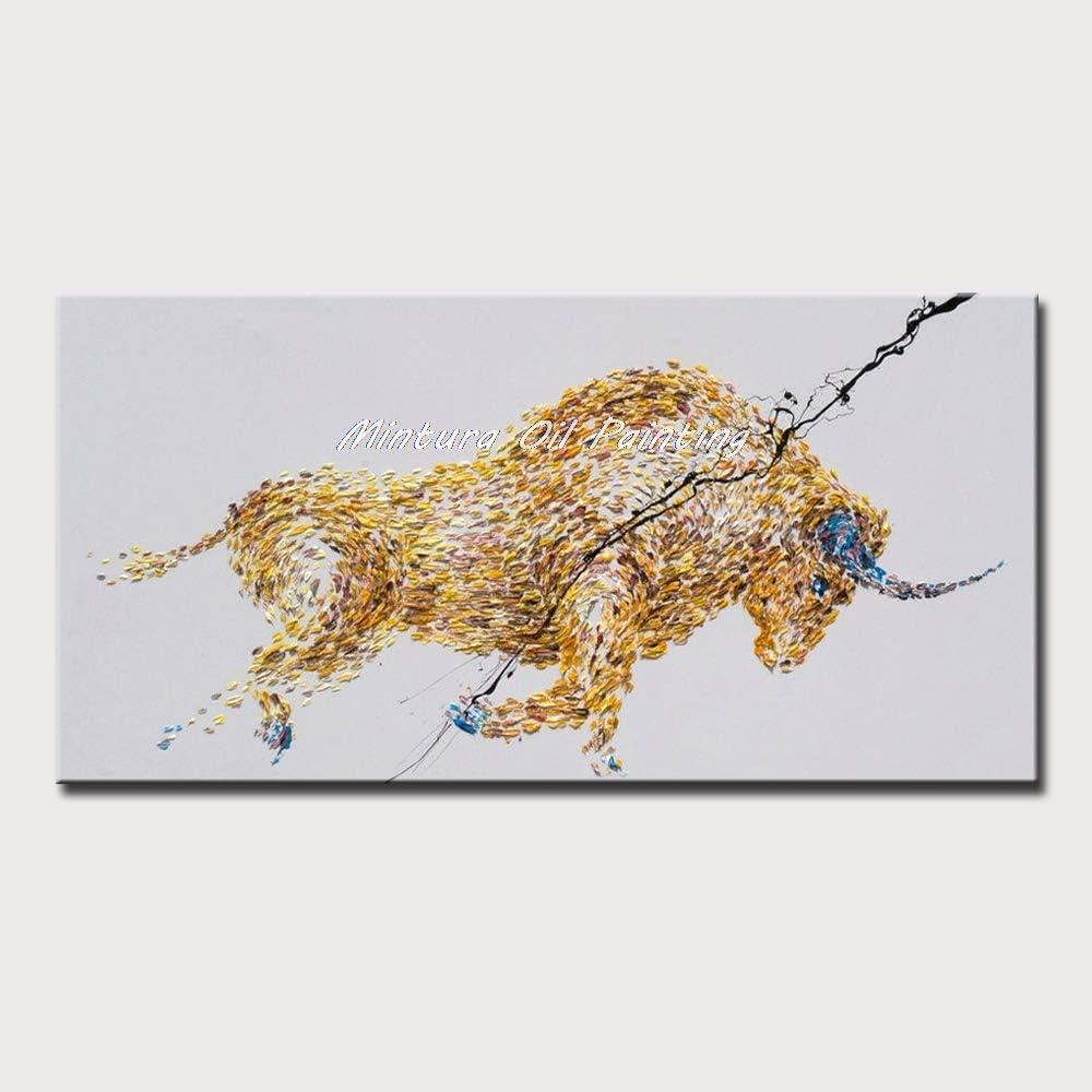 Pinturas Al Pintura Al Óleo Pintado A Mano,Pintado A Mano Abstracto Animal Mancha Corrida De Toros Española Amarilla Pinturas Al Óleo Sobre Lienzo Cuadros Modernos Del Arte De La Pared Para La Deco