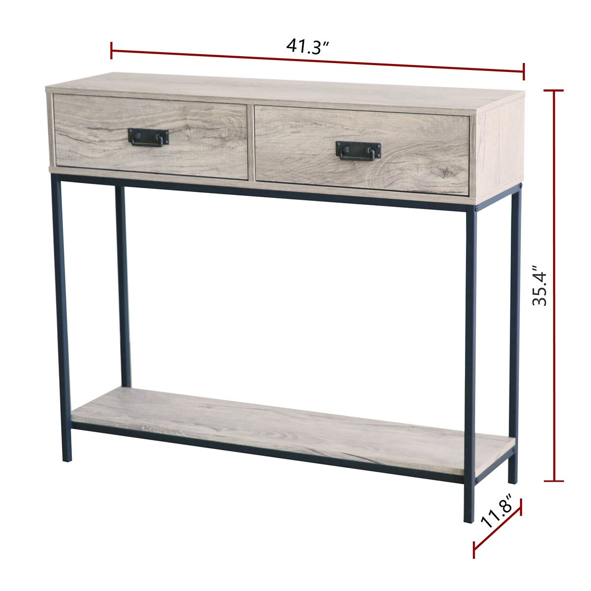 2-Tier Display Shelf Multipurpose Rectangular Modern Cabinet Table Oak Wood Roomfitters 2 Drawer Entryway Console Table Sofa Table for Hallway Foyer