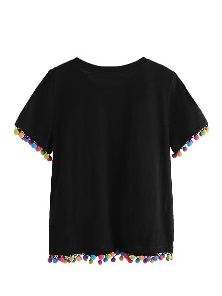 seleccione para el último fecha de lanzamiento la venta de zapatos SOLYHUX Mujer Camiseta con Ribete De Pompones, Camiseta ...