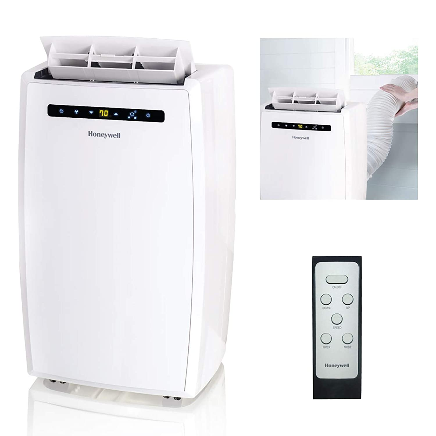 Modern Technology Small Room Air Conditioners Unit System Honeywell MN10CESWW 10000 BTU Portable Air Conditioner, Dehumidifier u0026 Fan  for Rooms Up To 350-450 Sq. Ft. with Thermal Overload Protection, Washable  Air ...