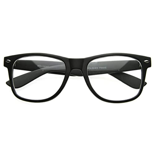 38c801f935d0 Amazon.com  Flat Matte Classic Geek Nerd Glasses Horn Rimmed Eyeglasses  UV400 Clear Lens (Black)  Shoes
