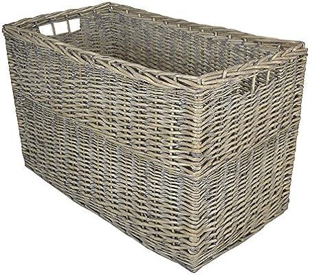 Cesta de mimbre para almacenamiento rectangular, grande y gris, caja para juguetes o cesta de regalo: Amazon.es: Bricolaje y herramientas