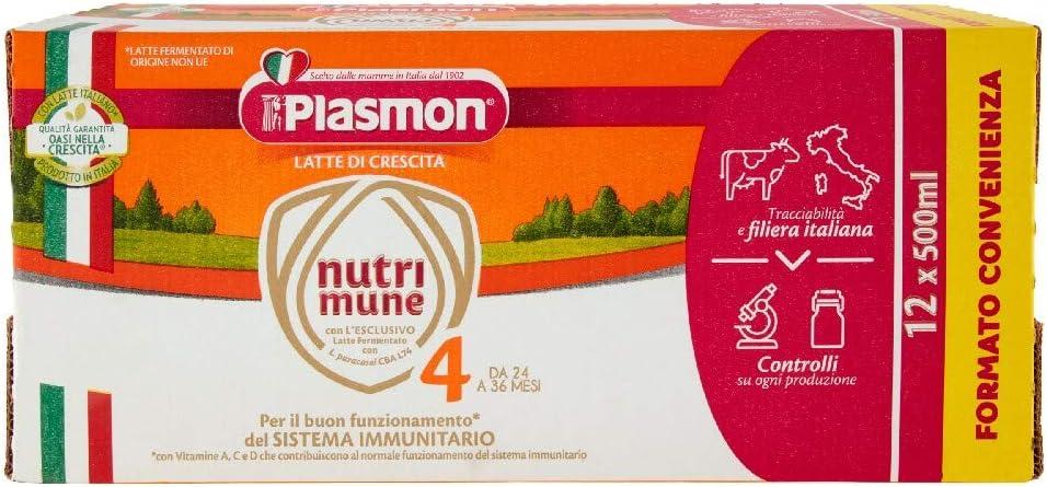 Plasmon Latte Liquido Nutri Mune 4 - 12 confezioni da 500 ml...