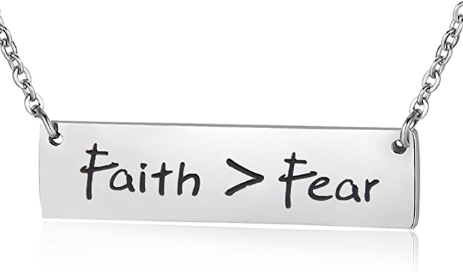 Hope is Greater Than Fear Engraved Silver Bar Chain Bracelet 7 8
