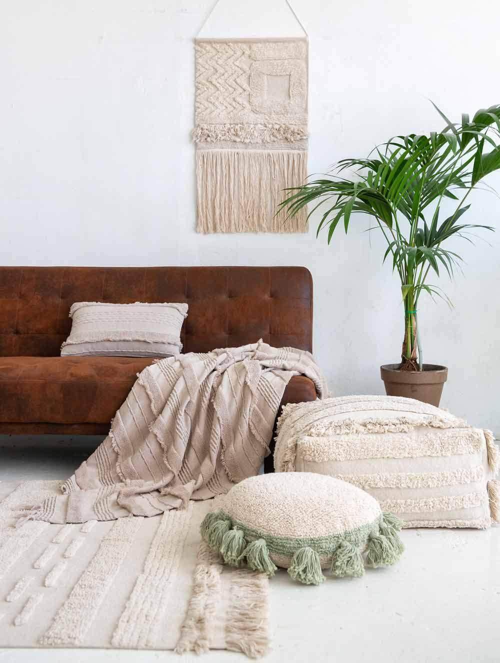 Lorena Canals Tapis Lavable Air Dune White Coton Recycl/é Beige 140x200 cm