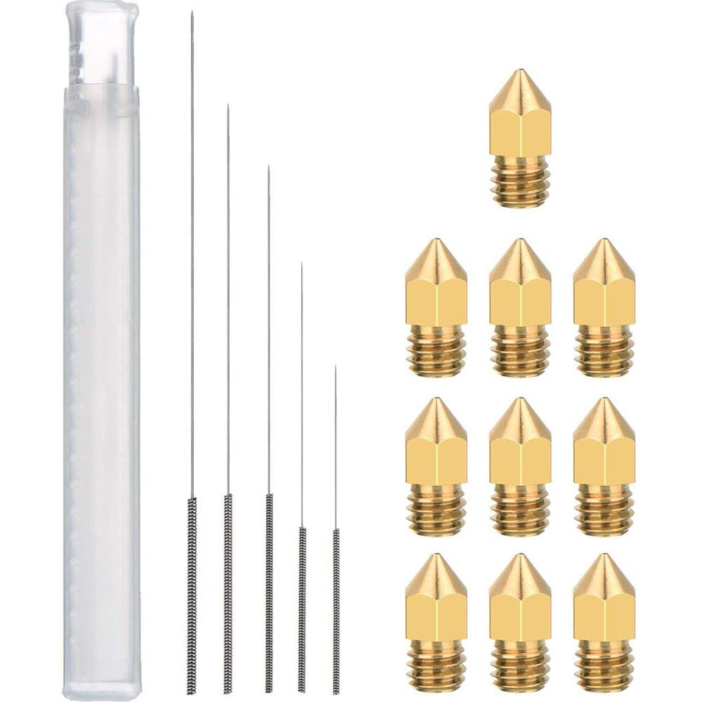 5pcs Cleaning Needles(0.2/0.3/0.4/0.5/0.6mm) & 10pcs MK8 Brass Extruder Nozzle Print Head (0.2/0.3/0.4/0.5/0.6mm) for Makerbot Reprap 3D Printers Uranny